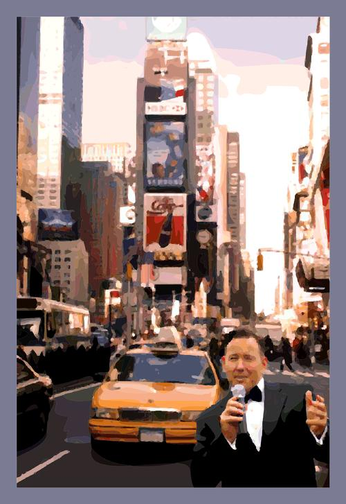 "Mr. Rat Pack"" Frank Lamphere at Time's Square, New York"